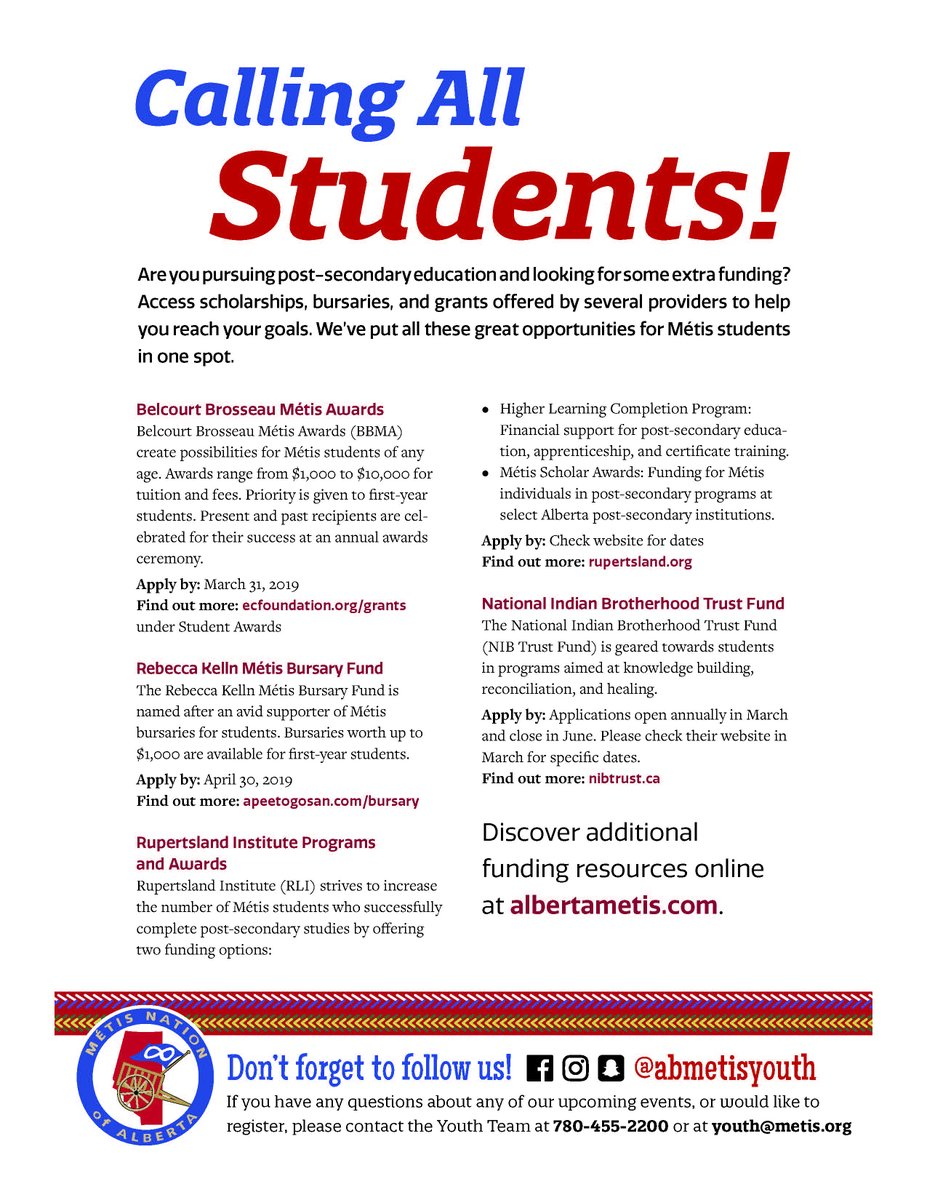 As a student, securing funding for post-secondary education can be difficult, but help is available. Métis students have access to scholarships, bursaries, and grants. Details on the poster below! Tag a student in need! #abmetisproud #metiseducation #abstudents
