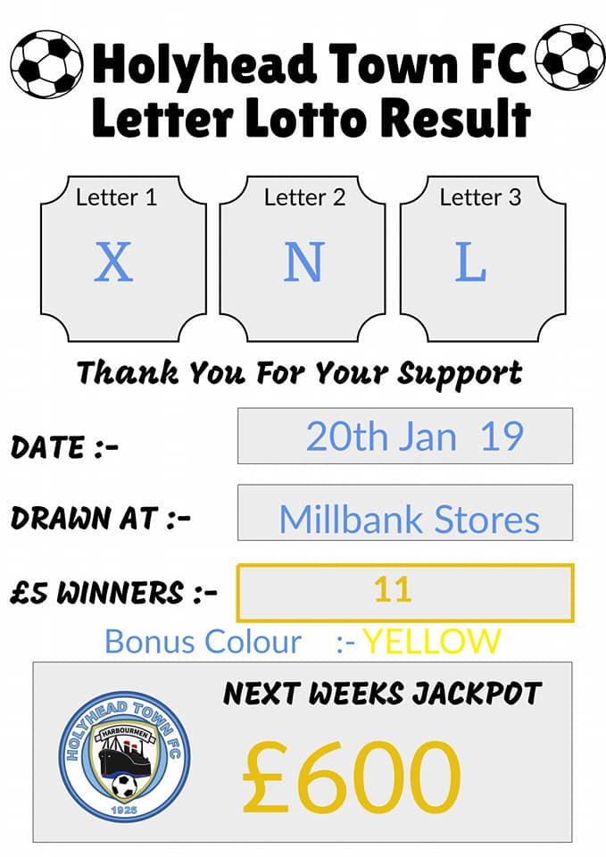 Letter Lottery result. Thank you to everyone who bought a ticket. Next weeks jackpot £600!