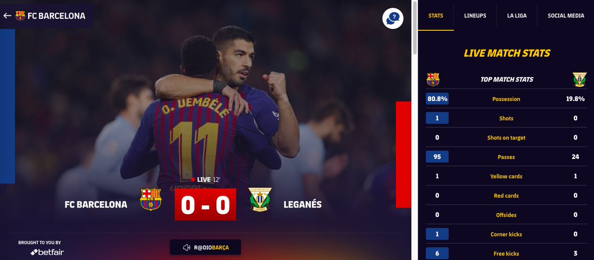 1️⃣5️⃣' Barça are attacking like a pack of wolves here early! 🙋♂️ While following the game, keep a close 👁 on our match center! 👉http://ow.ly/ioGT30nnNxp   ⚽️ LIVE: Barça 0 - 0 Leganés  🔵🔴 #ForçaBarça!