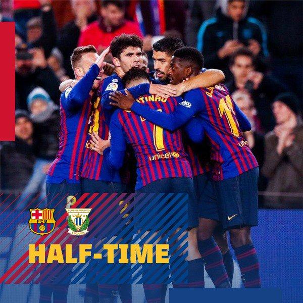 HT Aaaand the ref blows the whistle at the end of 4️⃣5️⃣, with Barça up one!  ⚽️ LIVE: Barça 1 - 0 Leganés (⚽️ @Dembouz 33')  🔵🔴 #ForçaBarça! #BarçaLeganés