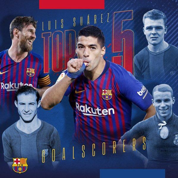 🔝👏👏 @LuisSuarez9  ينضم إلى قائمة أفضل 5⃣ هدافين في تاريخ #برشلونة 🔵🔴🔥  ⚽ #Messi 5⃣7⃣6⃣ ⚽ César 2⃣3⃣2⃣ ⚽ Kubala 1⃣9⃣4⃣ ⚽ Samitier 1⃣8⃣4⃣ ⚽ Luis #Suárez 1⃣6⃣7⃣ ⚽ Escolà 1⃣6⃣7⃣  🔵🔴 #ForçaBarça