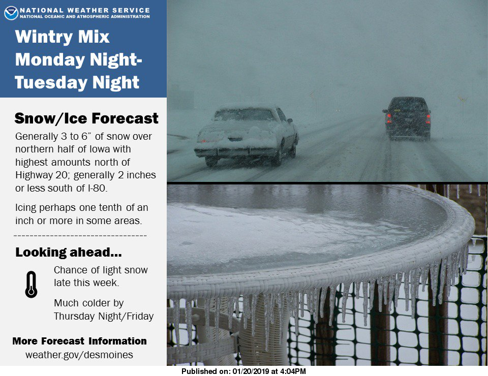 Storm system Monday night to Tuesday night to bring wintry mix to #iawx