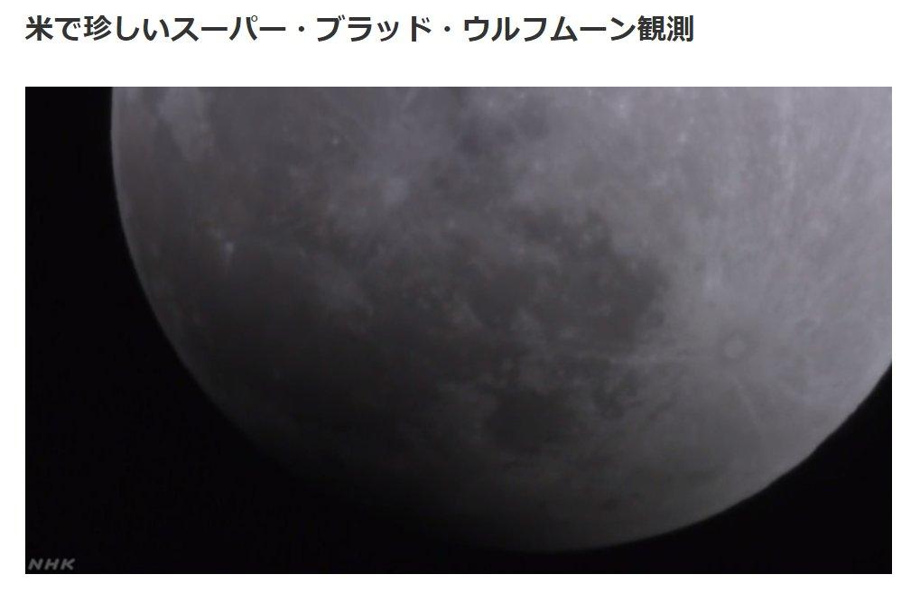 アメリカなどで「 #スーパーブラッドウルフムーン 」 1年の最初の満月がふだんより大きくみえて、皆既月食にともなって赤く輝くという珍しい天文現象。映像をサイトで中継しています。 https://t.co/OosFyKjTAd