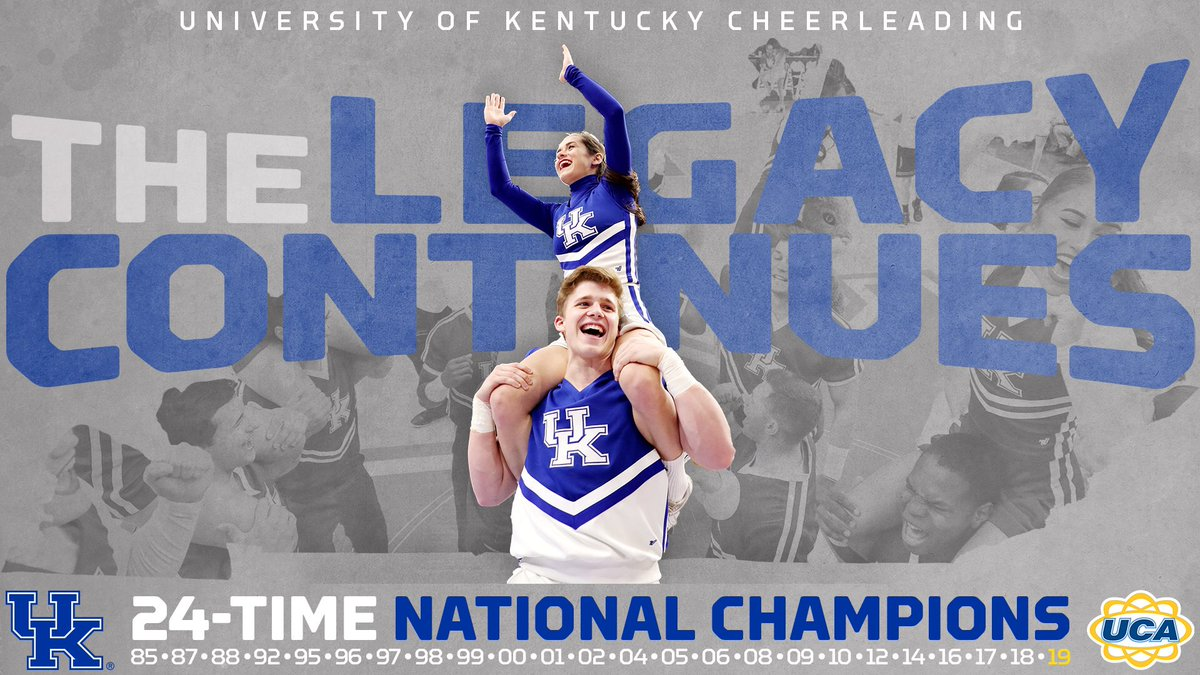 The champs are here. AGAIN.  @kentuckycheer is bringing the national title home to Lexington! #WeAreUK #Number24 #UCAnationals