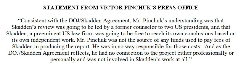 PINCHUK, in a statement from his press office, says he thought @SkaddenArps ' report on the prosecution & jailing of TYMOSHENKO was going to be independent, but also denies funding—or having anything to do with—it, leaving lots of questions about why SKADDEN concluded otherwise.