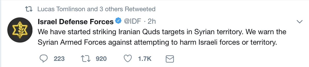 #Israel  warne #Syriad : Let us bomb you. You are warned if you retaliate against our aggression. Only Israel has the right to aggress its neighbour and violate their sovereignty and security.  The  'Iranian Quds targets ' is blatantly fake. Israel aim to destroy Syria's capability.