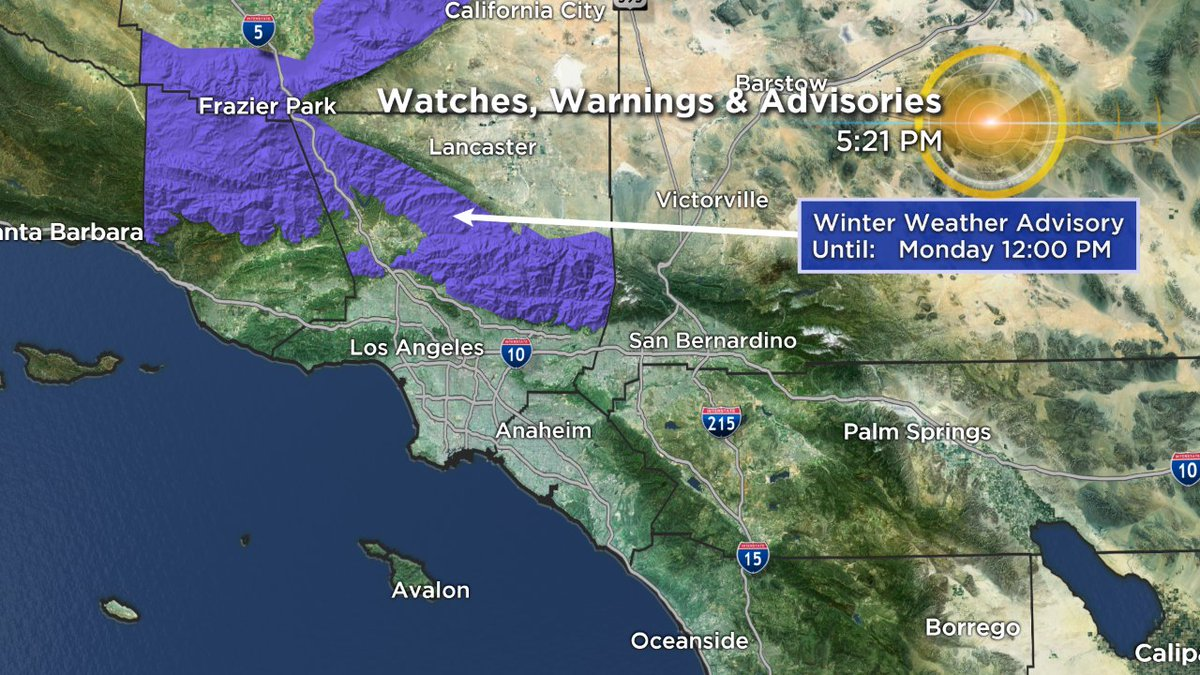 A Winter Weather Advisory has now been issued as a cold storm system to the north moves through the region tonight. Snow showers possible through the Grapevine & Kern Co. line after midnight into Monday AM. Gusty winds up to 55 mph.   #cawx#cbsla#kcal9
