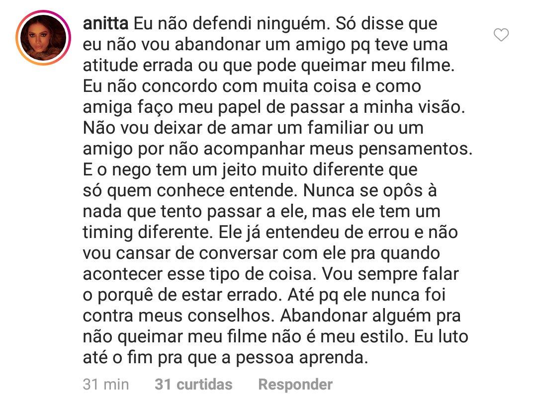 """Anitta se manifesta sobre declaração dada ao lado de Nego do Borel em show no Rio de Janeiro: """"Eu não defendi ninguém"""""""