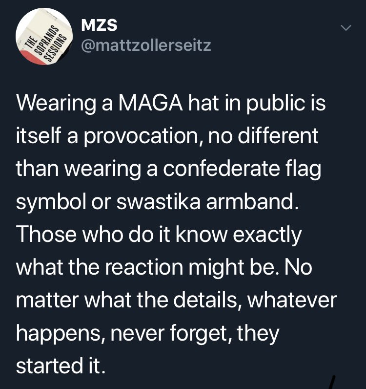 "Including the ""short skirt"" argument. Suffice to say I think wearing a MAGA  hat in public is a hateful act. No apologies.pic.twitter.com uXHzlZ7rlc fd1ad9ddb42f"
