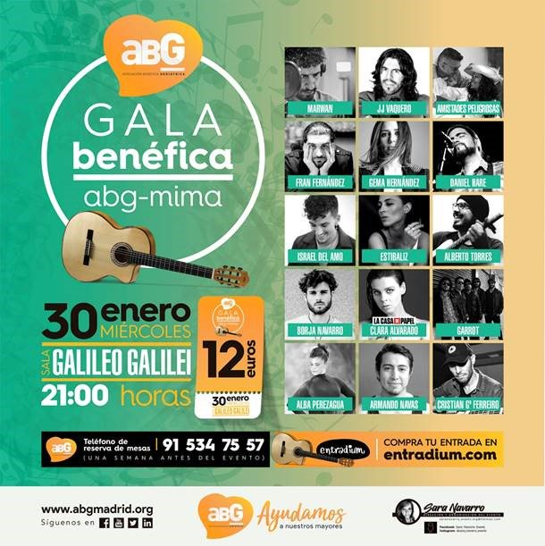El #miércoles 30 a la 21:00 Gala Benéfica @ABG_Mayores – MIMA en @salagalileo, los beneficios irán destinados a financiar proyectos para erradicar la soledad no deseada de las #personasmayores. #Madrid #Chamberí #FilaCero
