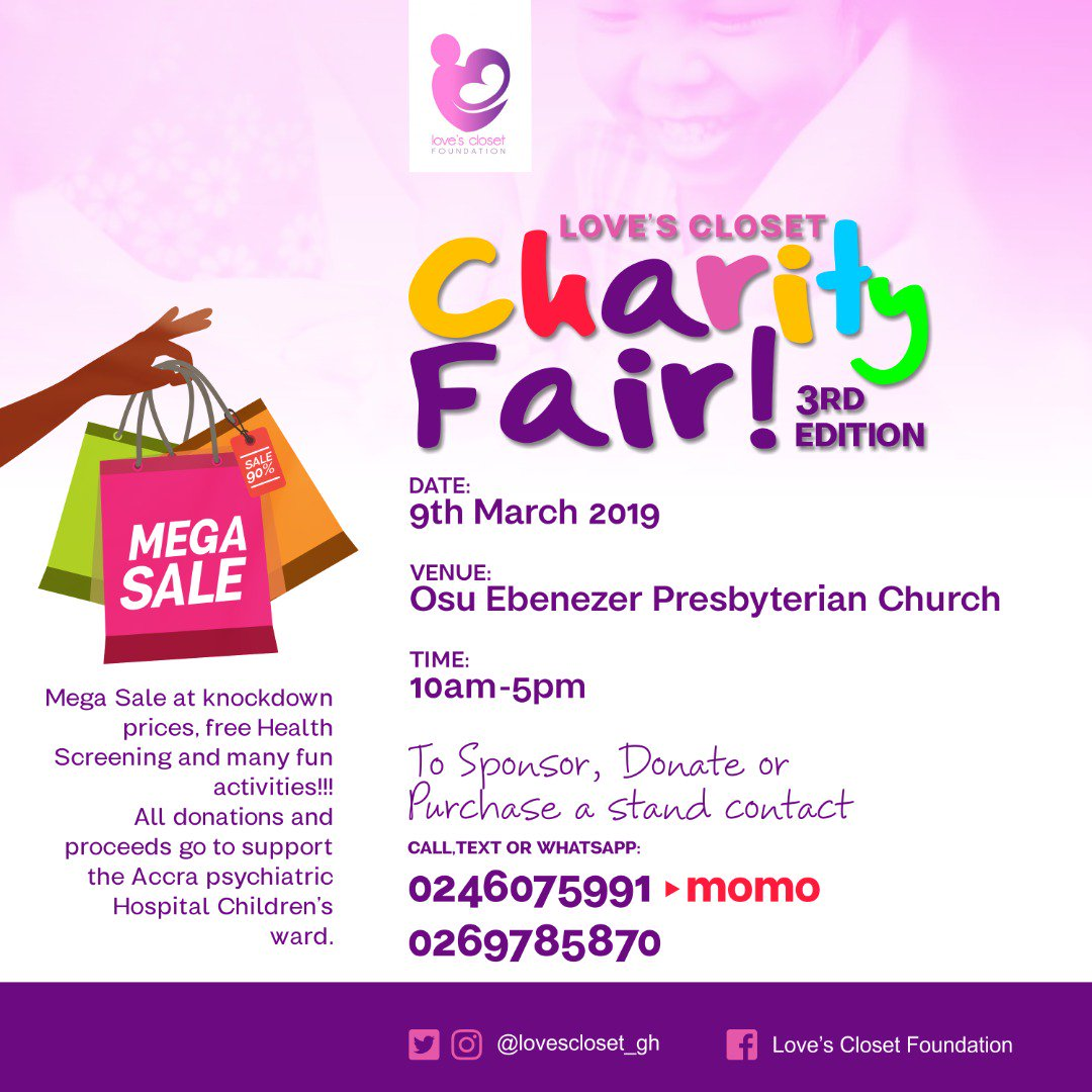 It&#39;s the 3rd edition! Come support this fair by @loves_closetgh  #LCFCharityFair19 #childmentalhealth #Donate #sponsor #volunteer @jonell_sounds  @occasions_hub  @kiddieesports  @chalefoundation  @maamespancakes  @afoleymoments  @bakes_perfection @dansworldservices  @happyhubgh <br>http://pic.twitter.com/YtfSfjXuhQ