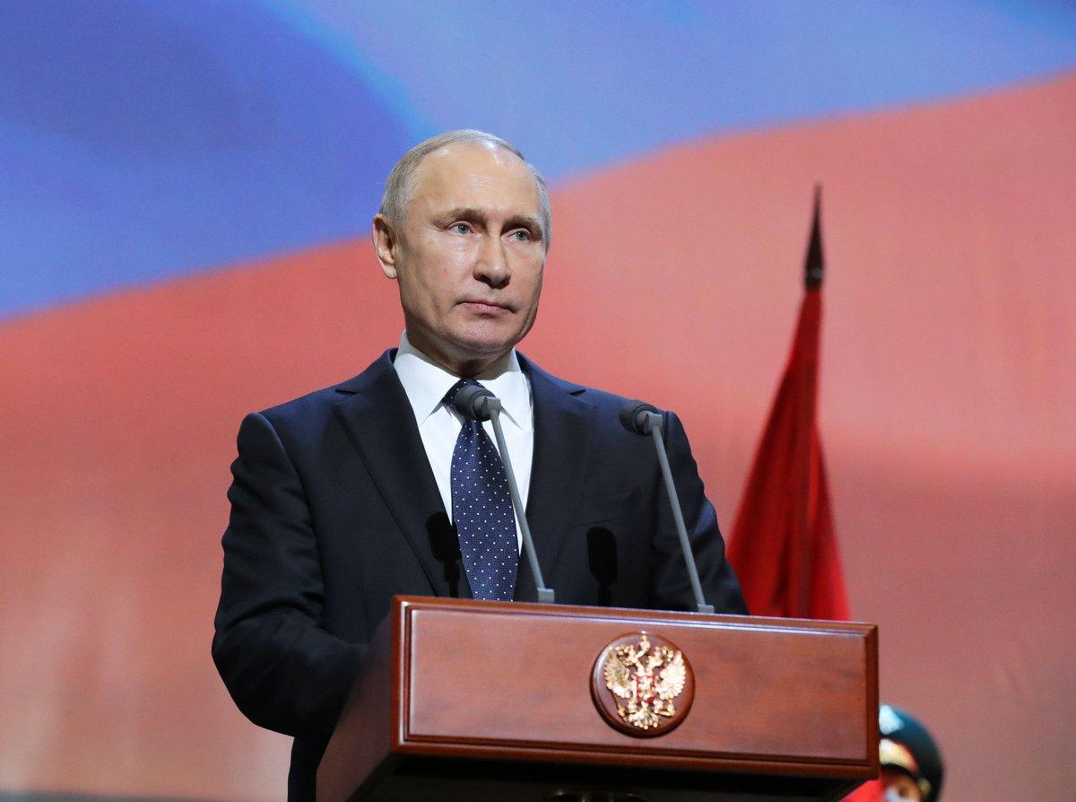 "75th anniversary of Leningrad blockade's lifting - Vladimir Putin attended the show concert ""Listen, country, this is Leningrad speaking"" http://bit.ly/2Sb4qaq"