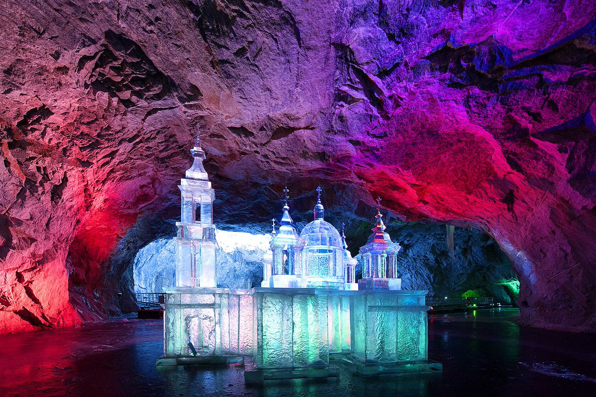 """#WorthSeeingKarelia February 19–21 the #Ruskeala mountain park (#Karelia🇷🇺) is going to host the first international ice sculpture festival «The Secret of the Depth». The theme of the festival: """"Myths and legends of Karelia."""" https://ruskeala.ru/"""