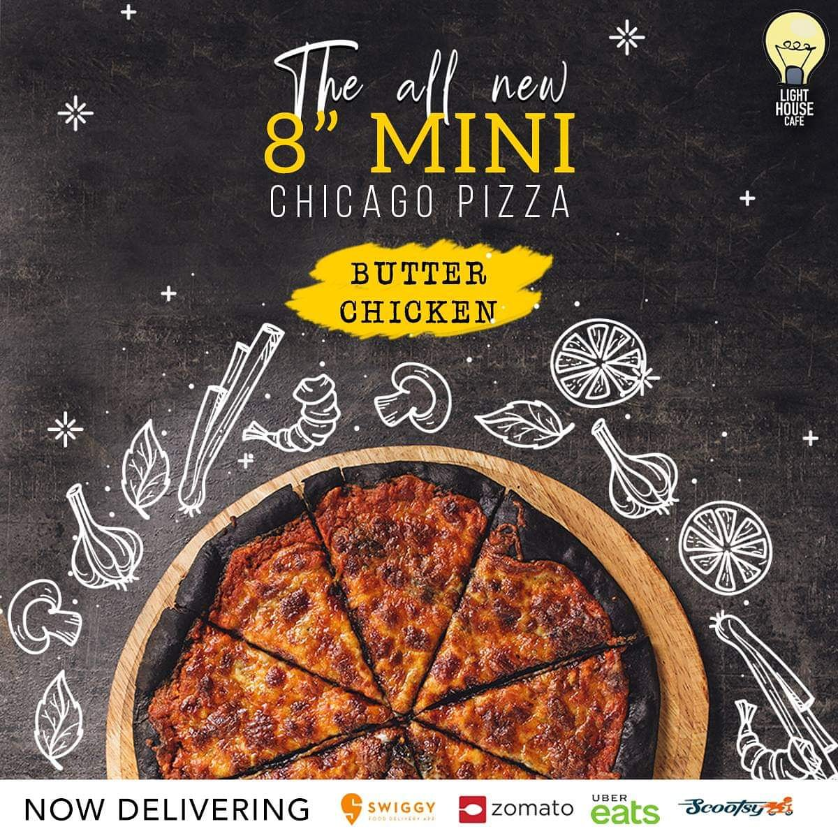 """Happiness is a slice of the all new 8"""" mini Chicago Pizza with the perfect blend of butter chicken only at Light House Cafe Mumbai  #LHC #Worli #Mumbai #Zomato #Blogpost #bloggers #Weekday #CurlyTales #Weekends #Thingstodo #Mumbaifoodie #Foodgasm #mumbaifood #indianblogger"""