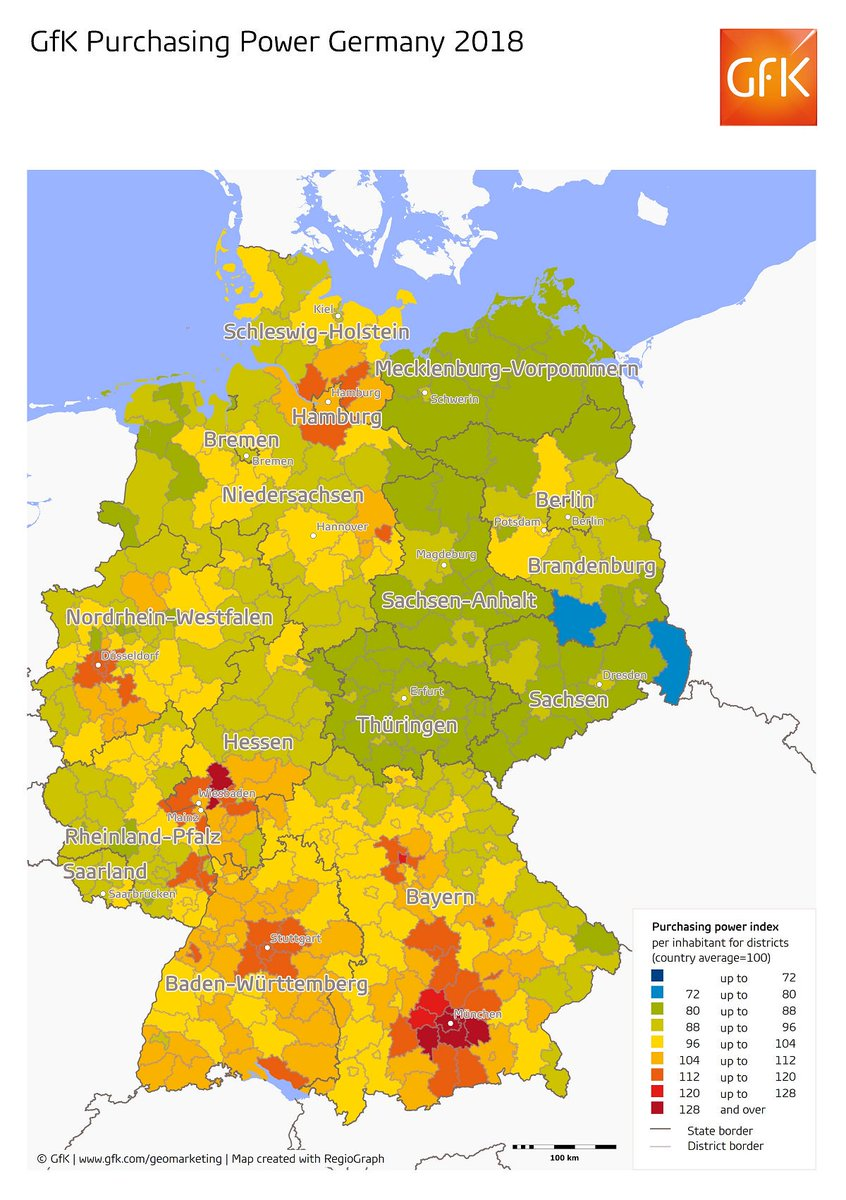 Regions Of Germany Map.Gfk On Twitter Mapmonday Which Regions In Germany Have The