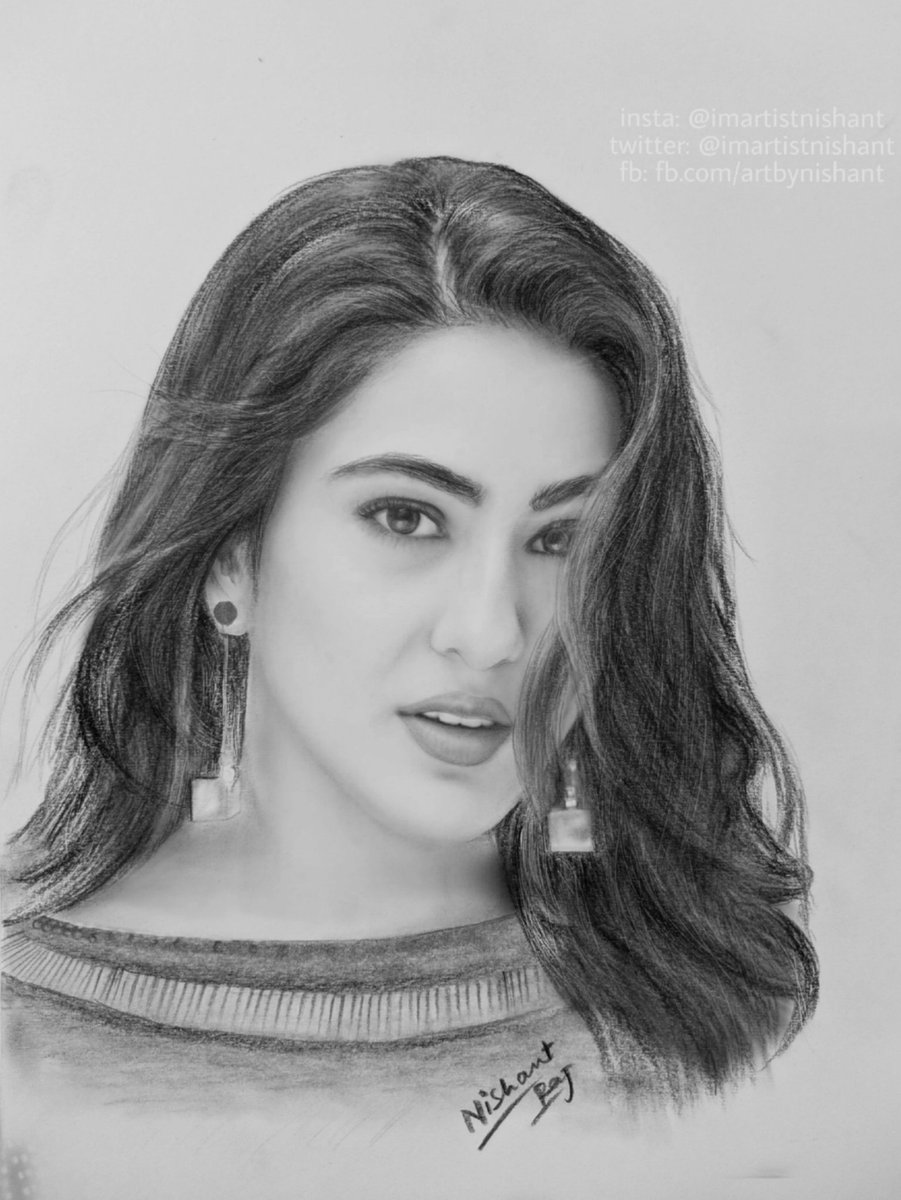 Sketch of beautiful bollywood actress saraalikhanfp by me artbynishant art drawing illustration artist draw sketchbook artwork painting