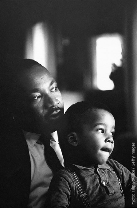 Happy Martin Luther King Day!  'We must all learn to live together as brothers - or we will all perish together as fools.'  Photo: King with his son Dexter on 14 October 1964, the day he learned he'd been awarded the Nobel Peace Prize. #MLKDay  Learn more: https://t.co/ppVURTckqz