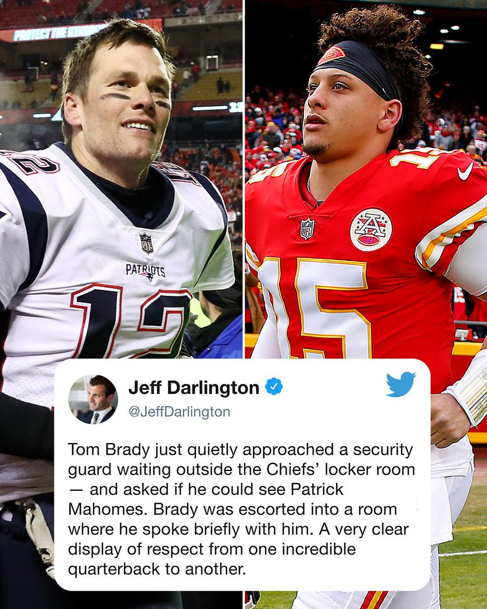 After the Pats' OT win, Tom Brady went out of his way to talk to @PatrickMahomes5 🙏 (via @JeffDarlington)