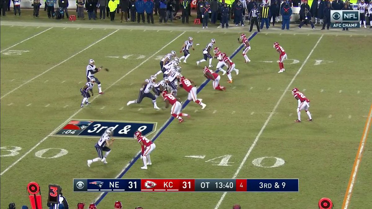3rd-and-10, 13:40   Tom Brady pass short middle to @edelman11 to KC 45 for 20 yards  #EverythingWeGot