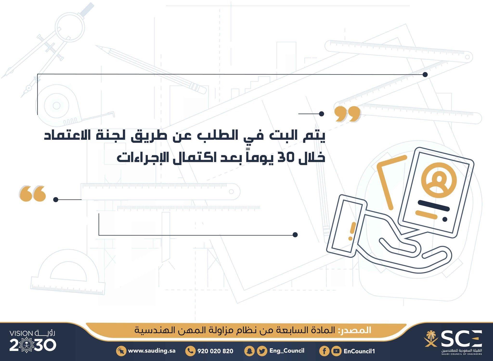 الهيئة السعودية للمهندسين Pa Twitter كم يستغرق البت في طلب الاعتماد المهني نظام مزاولة المهن الهندسية مزاولة