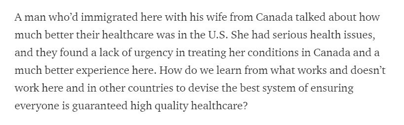 In his latest ramblin' man travelogue, Beto O'Rourke says he met a Canadian immigrant who said his wife's health care experience has been much better in the U.S. You don't hear much of that sentiment from Dems, even if they're just quoting people they met. https://t.co/PLeG8XfHtc
