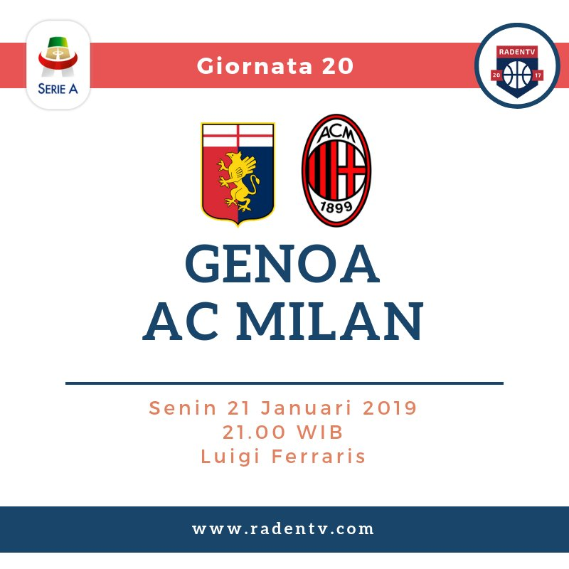 🏆 Liga Italia 🆚 Genoa vs AC Milan 📆 Senin 21.1.19 ⏲ 21.00 WIB 🆓 Gratis 📱 https://bit.ly/2Mo0SMw #GenoaMilan