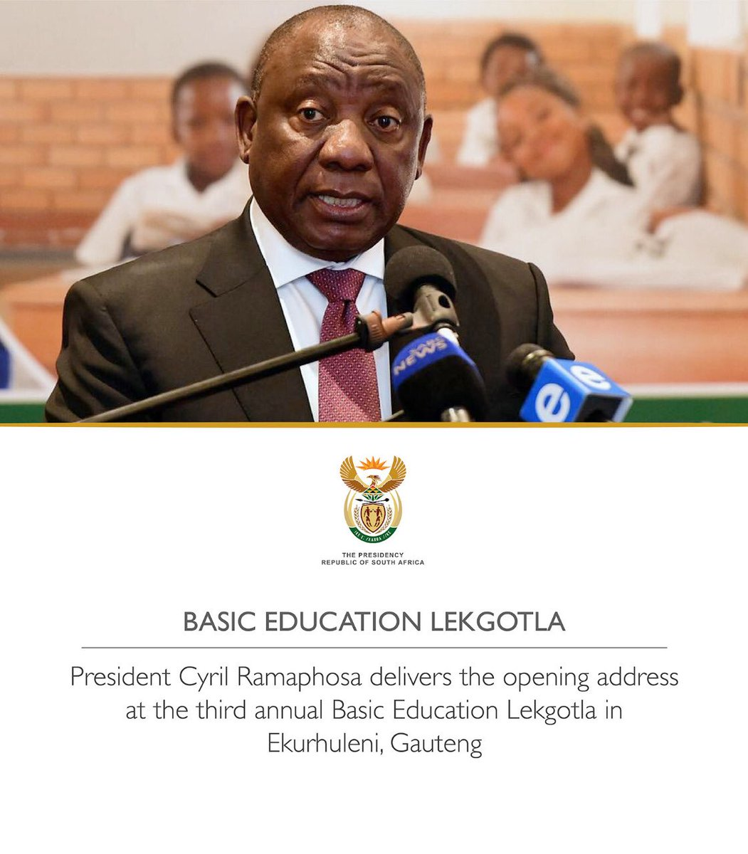 President @DPRamaphosa will this morning deliver the opening address at the 3rd annual Basic Education Lekgotla in Ekurhuleni, Gauteng. The 3-day national event brings together provincial departments, unions, SGBs, learner organisations, NGOs, academics & other stakeholders.