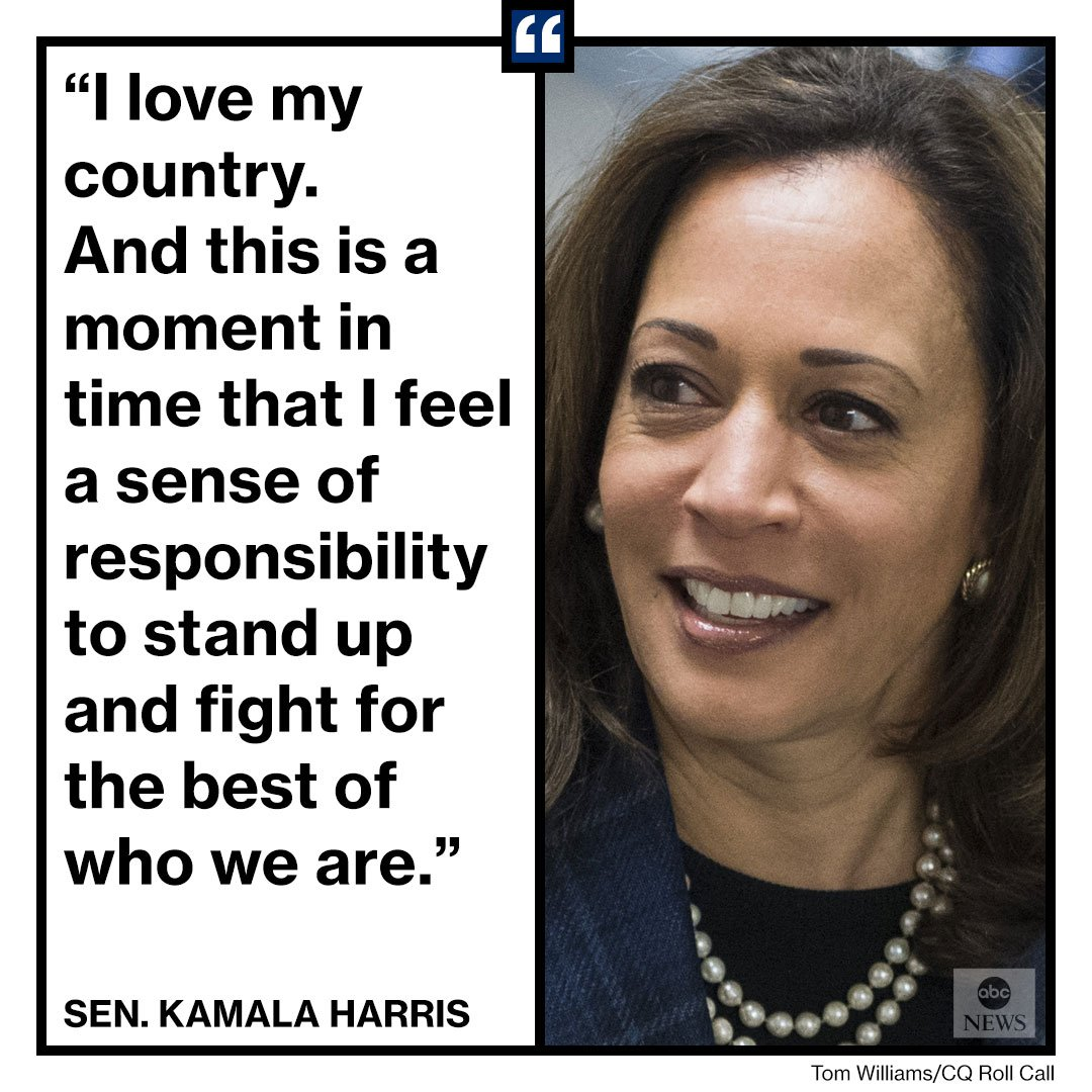 """EXCLUSIVE: Sen. Kamala Harris announces she will run for president in 2020.  """"I love my country,' she tells @GMA. 'And this is a moment in time that I feel a sense of responsibility to stand up and fight for the best of who we are."""" https://t.co/TaNcPjey8F"""