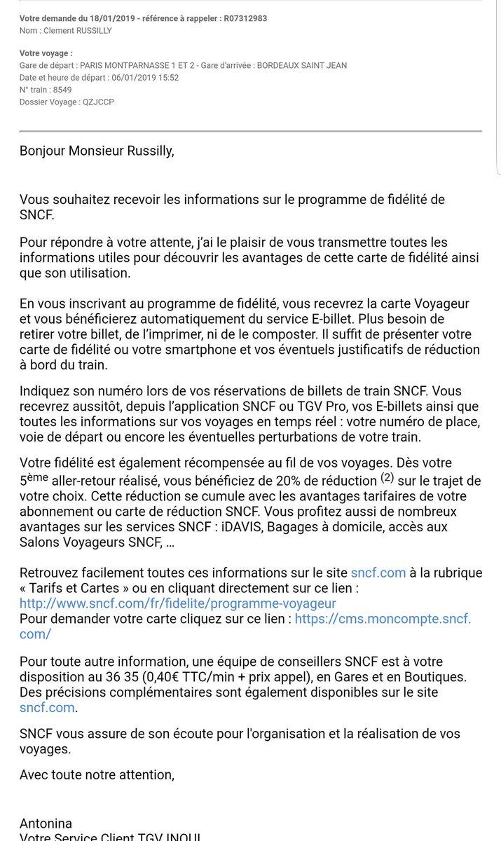 """SNCF no Twitter: """"Bonjour Clément, je viens deffectuer une"""