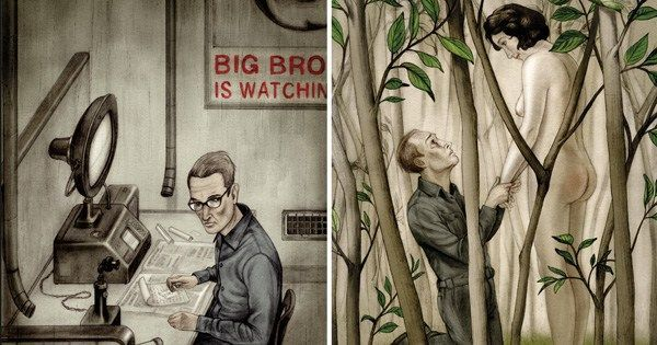 Orwell died on this day in 1950. Haunting illustrations for his 'Nineteen Eighty-Four' https://t.co/WWyHwlWbqk