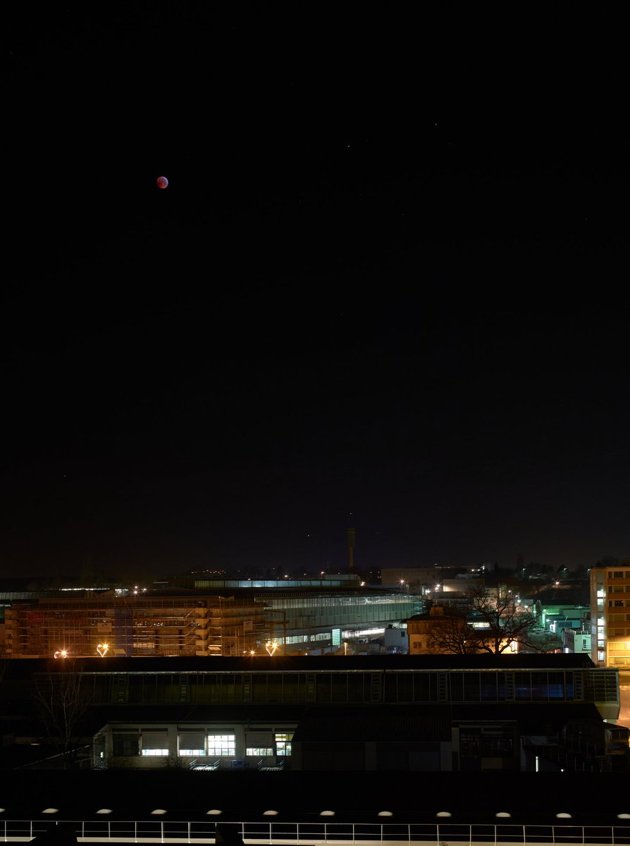 Last night's #LunarEclipse as seen from CERN.  📸 Christoph Balle #EclipseLunar