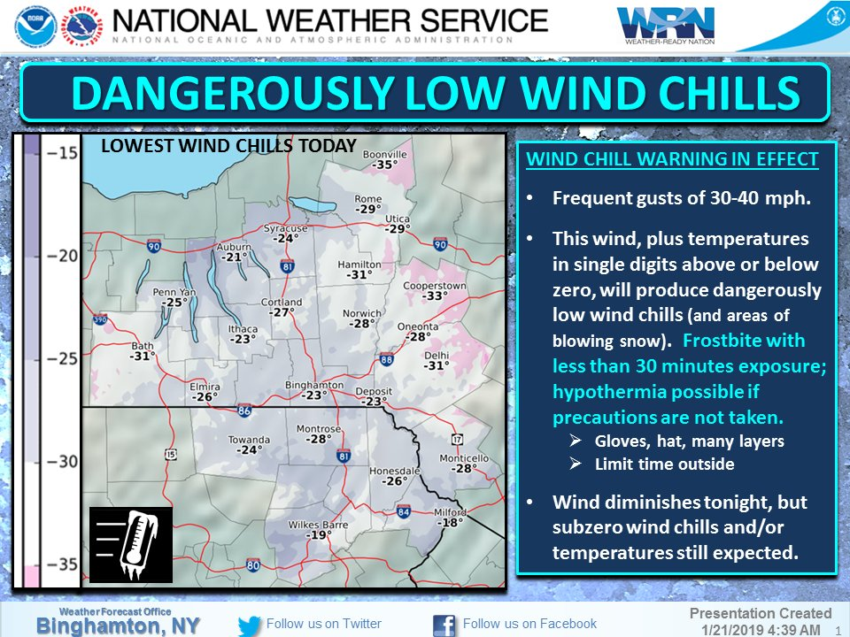 Wind Chill Advisory Issued For Hudson Valley, May feel -40