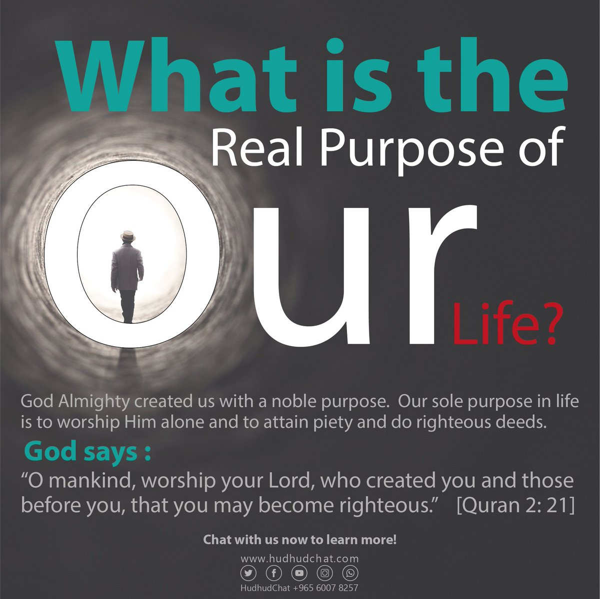 What is the Real #Purpose of our #Life?  #God created us with a noble purpose.  Our sole purpose in life is to #worship Him alone and to attain #piety & do #righteous deeds.   #Chat with us now to #learn more!  http:// hudhudchat.com       #Hudhudchat #MMKMisterAtinTo #WOLLEI #USA<br>http://pic.twitter.com/SKZCw17cXR