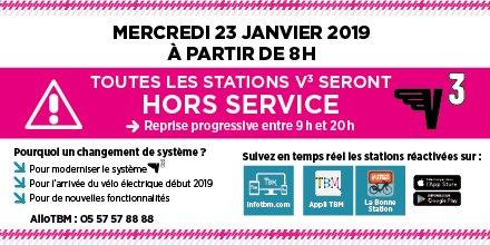 A tous les utilisateurs de V3 : prenez vos précautions mercredi 23 janvier ! @info_tbm #lormont #véloenville #v3 #transportsencommun #infocirculation #infotransports #précaution twitter.com/info_tbm/statu…