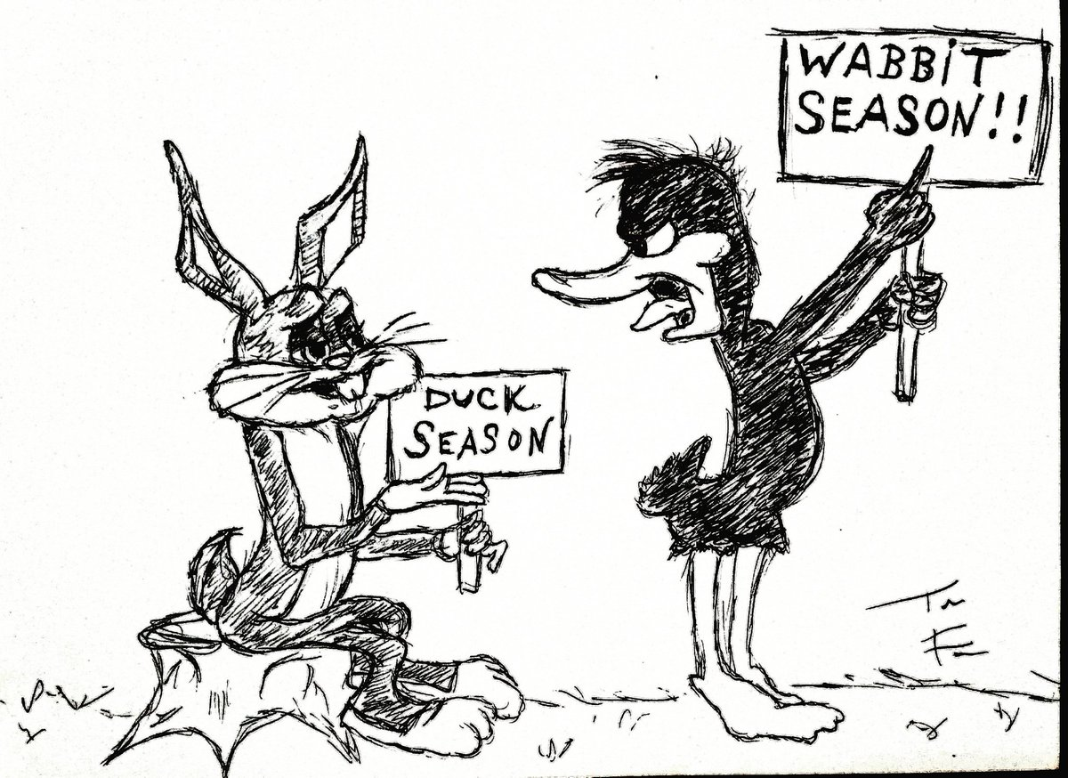 The true debate rages on....  #love #funny #goofball #timmydontcare #bugsbunny #daffyduck #warnerbrothers #classic #cartoon #hilarious #absurd #laughs #laughing