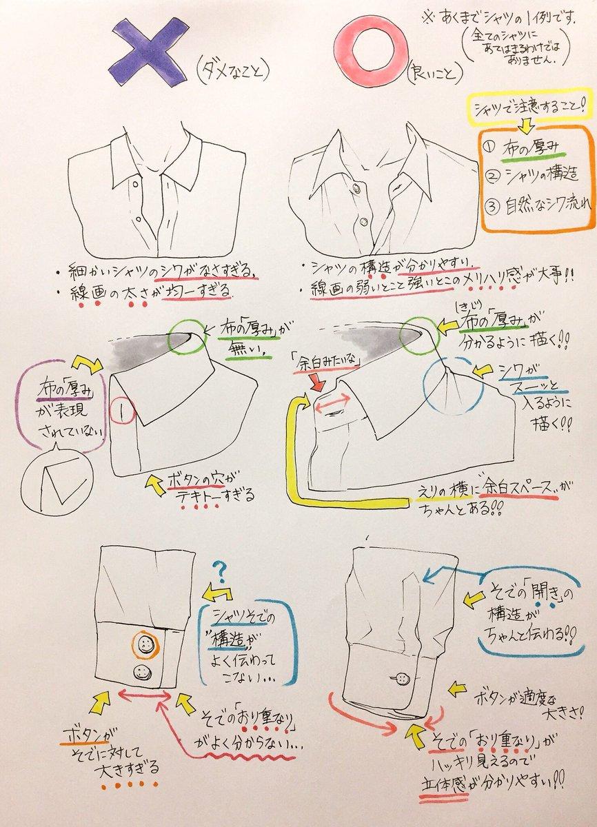 吉村拓也fanboxイラスト講座 On Twitter シャツ服の描き方 服