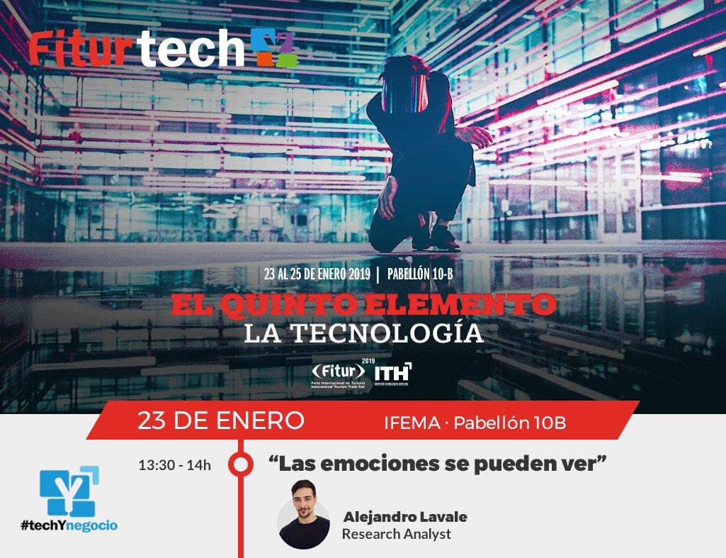 """Nuestro analista de investigación @AlejandroLavale interviene este miércoles 23 a las 13:30h en #fiturtechy en el foro #techynegocio con la ponencia """"Las #emociones se pueden ver"""", ¡No te lo pierdas! #tecnología #negocio #innovación @ithotelero @fitur_madrid @feriademadrid https://t.co/WSZobOETsx"""