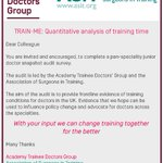 Calling all Trainee Doctors!  The ATDG and ASiT today launch a snapshot audit of training conditions for trainee doctors during winter pressures. Complete the survey and contribute to frontline evidence to help influence policy change. https://t.co/m16uoU1kOH