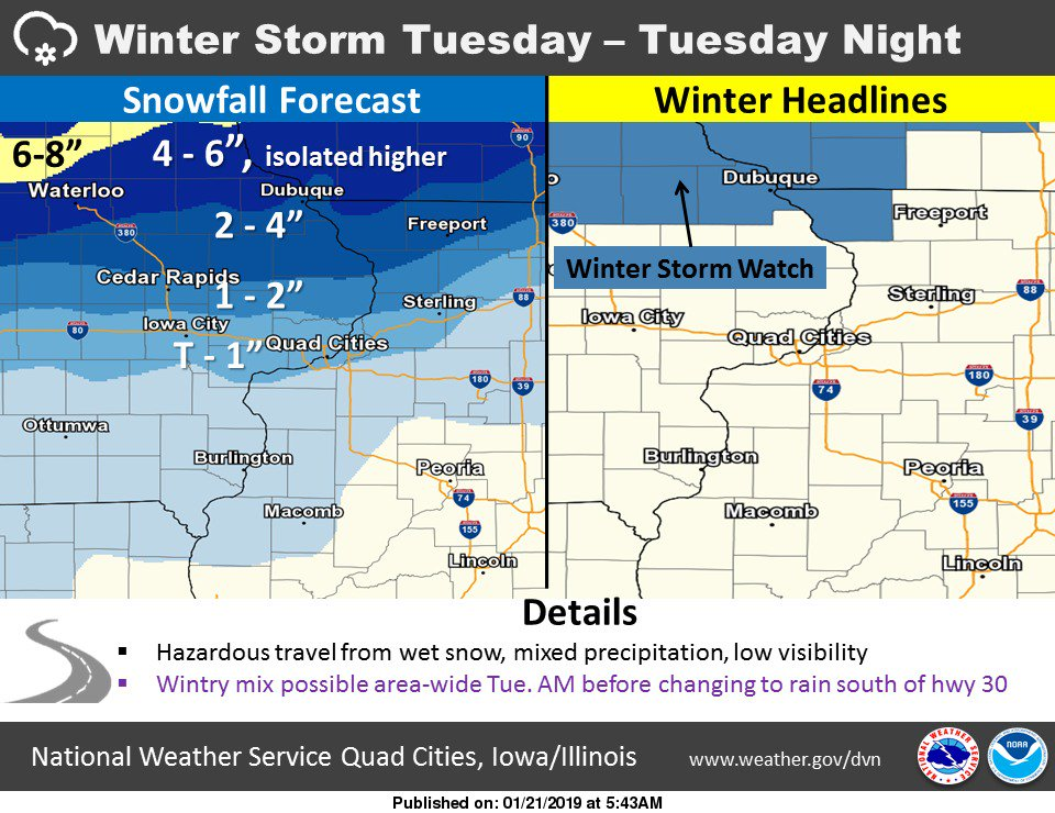 Another winter storm will impact Iowa and Illinois Tuesday and Tuesday night. #iawx #ilwx #snow #winter
