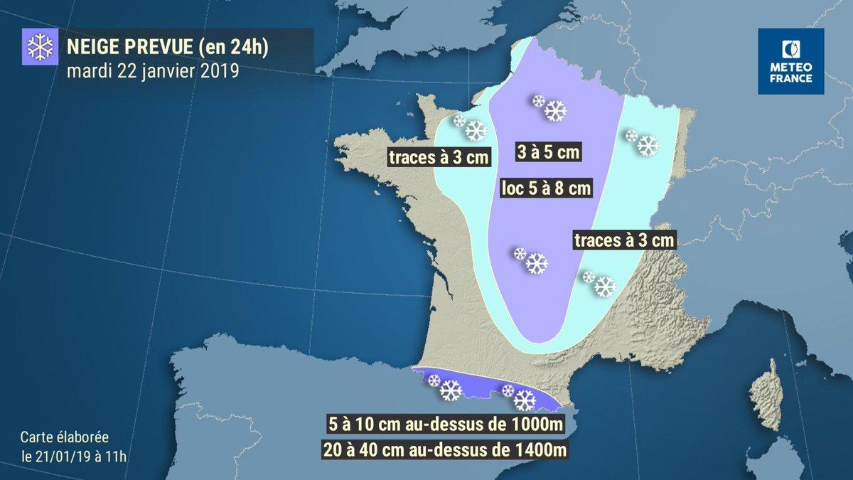 Séquence hivernale demain et mercredi : #neige  en plaine dans un grand quart nord-est, à basse altitude dans le  Centre-Est. Plus d'1m de neige attendu en moyenne montagne dans les #Pyrénées.   Restez informés ▶️http://www.meteofrance.com