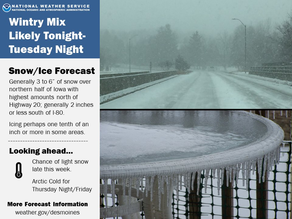 Snow and Ice on the Way Monday Night and Tuesday.  Monitor later forecast for possible updates.  #iawx