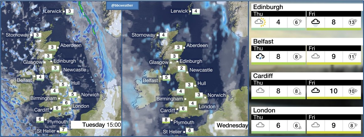 A cold week ahead with some wintry showers and harsh frosts. It'll be less cold on Friday. Jo