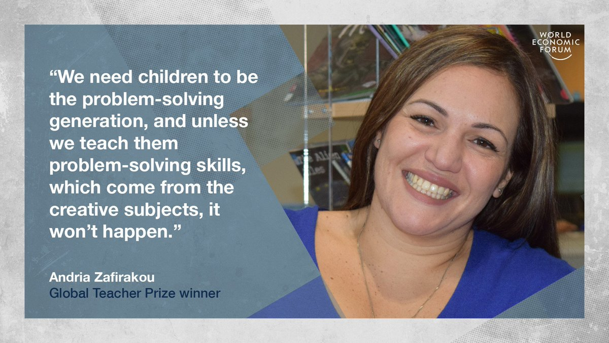 Quote of the Day from Andria Zafirakou (@Andriazaf) , winner of the 2018 Global Teacher Prize.   Learn more about how to give students the best possible education: https://t.co/Wcp04nq8NE #education #wef19