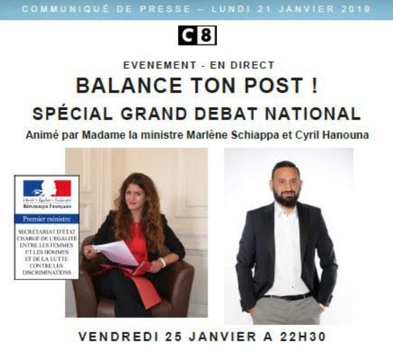 Vendredi, Marlène Schiappa anime un grand débat chez Cyril Hanouna. Bon, que dire?