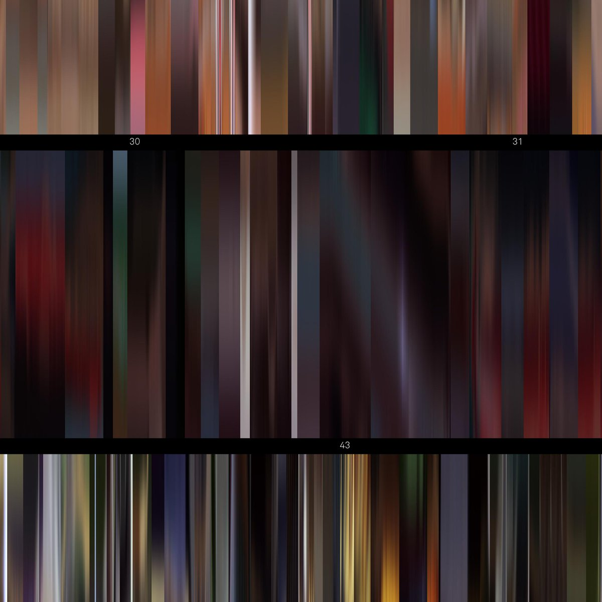 Poster (detail) of #Akira (#KatsuhiroÔtomo, 1988), around the 43 mn mark. Rendered as a juxtaposition of vertical lines summarizing the colors of each frame, hence displaying cuts & moods of the film #MitsuoIwata #NozomuSasaki #MamiKoyama #TesshôGenda #HiroshiÔtakepic.twitter.com/OSRrTy0EC9