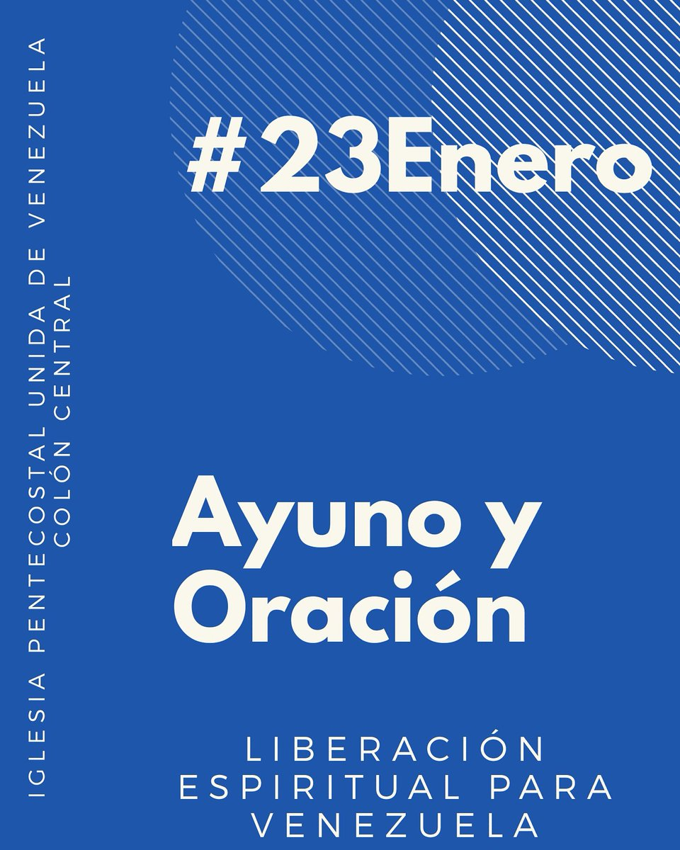 Te invitamos este Miercoles #23Enero a unirnos en un dia de Ayuno y Oración clamando por LIBERACIÓN ESPIRITUAL para Venezuela. Las armas de nuestra milicia no son carnales si no Espirituales.