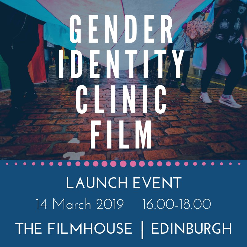 Tickets are now available for the Gender Identity Clinic Film Launch Event: Thursday 14th March, 4-6pm at the Filmhouse, Edinburgh. http://Eventbrite.com  The film is for potential or current users of the clinic,  health professionals and support staff. 1/2
