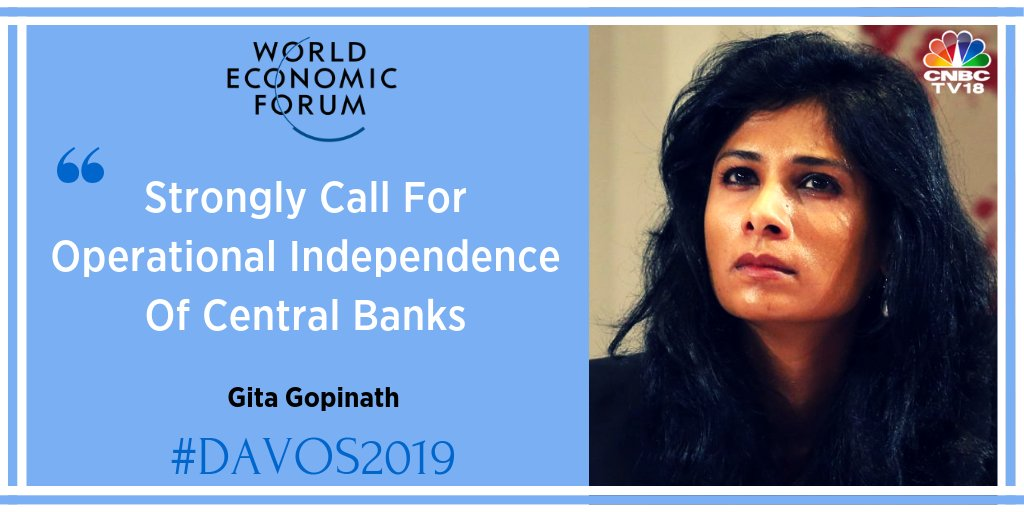 #Davos2019 | Gita Gopinath, #IMF, says the question is if RBI has enough reserves to maintain stability of the economy. Reserves can be fickle, need to be kept in mind while looking at capital framework  @IMFNews @wef #wef19 @Davos #CNBCTV18Exclusive @ShereenBhan