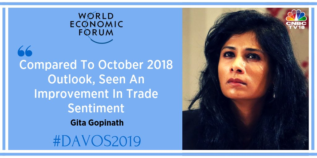 'Two major risks for global growth, worsening of financial conditions, escalation in trade tension, the two are now intertwined, ' Gita Gopinath tell @ShereenBhans  @IMFNews @wef #wef19 @Davos #CNBCTV18Exclusive #Davos2019