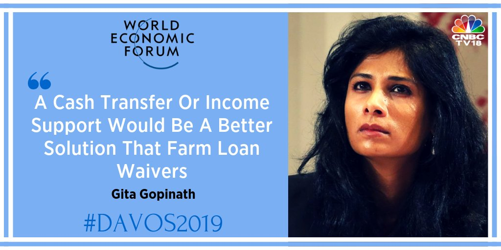 'Farm loan waivers don't solve the problem permanently; have to work with farmers to cushion against crashing prices, ' Gita Gopinath tell @ShereenBhans  @IMFNews @wef #wef19 @Davos #CNBCTV18Exclusive #Davos2019